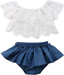 Qiylii 2PCS Baby Girl Lace T-Shirts Tops+Shorts Pants Tutu Skirt Kid Summer Clothes