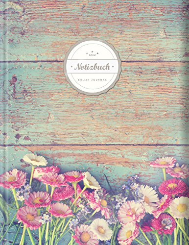 "BULLET JOURNAL (©Star, A4, 156 Seiten, Softcover) || Mit Register || XXL Punktraster Notizbuch, Tagebuch, Gepunktete Seiten, Dot Grid Notebook, ""Vintage Flowers"""