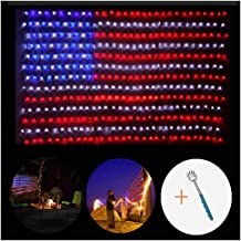 Fun lele American Flag Net Lights, Super Bright Low Voltage, 390 LED Waterproof American Flag String Lights for Independence Day, Memorial Day, Garden, Indoor and Outdoor + Gift: Back Scratcher