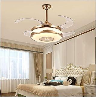 Estilo Europeo Oro Ventiladores para El Techo con Lámpara, 36W Ahorro De Energ Fan Lamparas De Techo, Control Remoto Regulable Luz Y Velocidad, Mute para Baño Loft