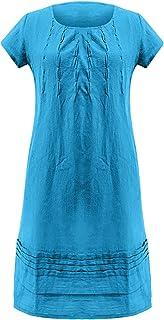 Women's Cotton Linen Dress Short Sleeve Midi Casual Stitching Mid-length Short-sleeved U-neck Loose Dress
