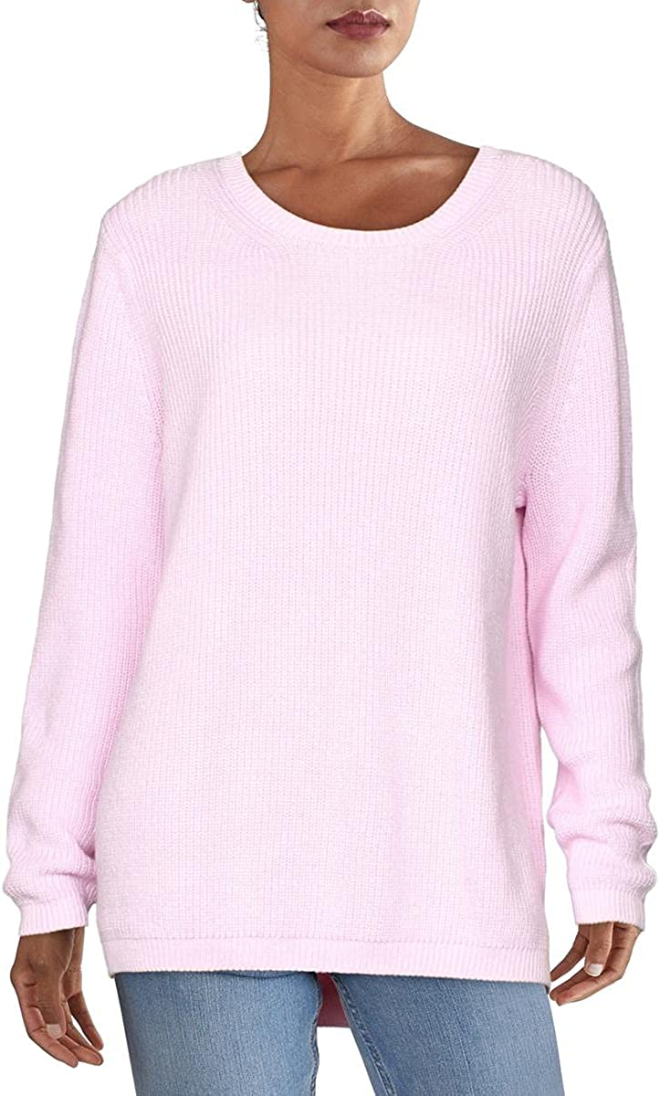 525 America Womens Cotton Ribbed Trim Pullover Sweater Pink M