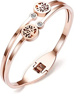 Mother`s Day Gift Rose Gold Bracelets Tree Charm with Inlaid Sparkling AAA Zircon Diamonds Cuff Bracelet Family Jewelry for Mother,Aunt,Grandmother