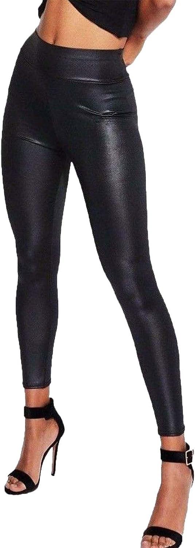 Amazon Com Rimi Percha De Ropa Para Mujer Aspecto Mojado Pvc De Alta Cintura Leggings Brillante Fancy Fiesta Discoteca Damas Pantalones S 3 X L Clothing