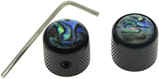 KAISH Set of 2 Black Tele Telecaster Abalone Top Guitar Dome Knobs Bass Knob with Set Screw