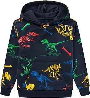 TLAENSON Boys Dinosaur Sweatshirts Hoodies Long Sleeve Lightweight Stretchy Knitted Pullover Hoodies