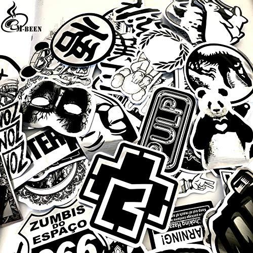 PMSMT Nuovi 50 pezzi adesivi in Metallo imitazione Bianco Nero Bomba Dragon Ball per Valigia Chitarra Skateboard adesivo Decalcomania FAI da te impermeabile