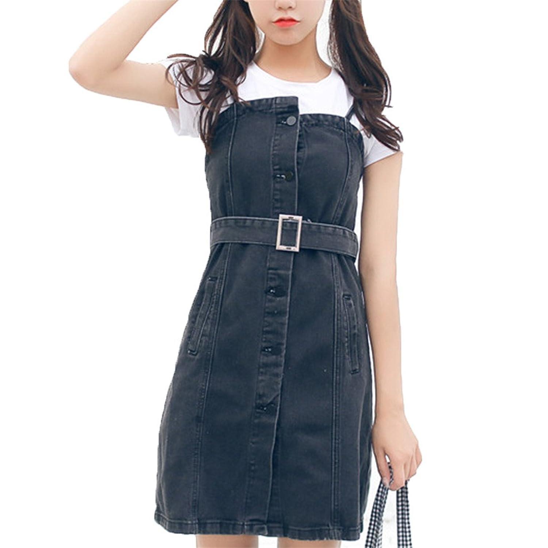 [美しいです] シャツワンピース レディース 半袖 ストライプ Aライン リボン 着痩せ かわいい 通学 通勤 シンプル ファッション 甘め