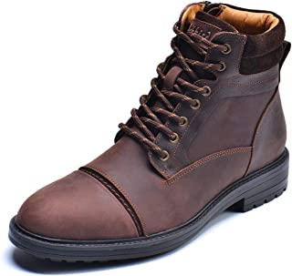 Mens Chelsea Boots, Stylish and Comfort Leather Chukka Ankle Boots with Zipper (Brown)