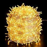 Quntis Luci Natale Esterno 100m 1000 LED, IP44 Impermeabile Catena Luminosa Natale decorazioni, illuminazione Natalizia per Albero Casa Ghirlanda Giardino Balcone Terrazzo Gazebo Feste - Bianco Caldo