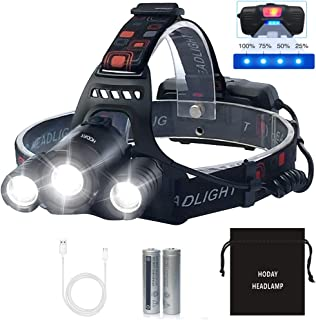 LED Headlamp, Bright 6000 Lumen Headlight, USB Rechargeable Head Lamp Flashlight, 4 Modes Waterproof Zoomable Work Light for Camping,Hiking, Outdoors (Black)