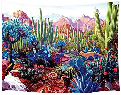 Tapiz Pared Desert Landscape Cactus Rattlesnake Bird, Southwest Desert Tapices Para Colgar En La Pared, Tapices Tela Poliéster Para Decoración Del Hogar Del Dormitorio -51 'X59'