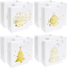 UNIQOOO 12 Pack Large Merry Christmas Holiday Gift Bags -4 White & Metallic Gold Foil Designs for Christmas Presents, Perfect for Wrapping Stocking Stuffers, New Year Party Favors