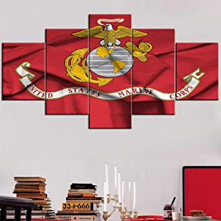 Framed American Flag of United States Marine Corps Wall Art for Living Room 5 Panel Canvas U.S.A Army Force Paintings Military Pictures Modern Artwork Home Decor Stretched Ready to Hang(60''Wx32''H)
