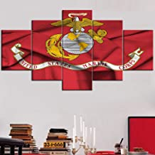 Framed American Flag of United States Marine Corps Wall Art for Living Room 5 Panel..