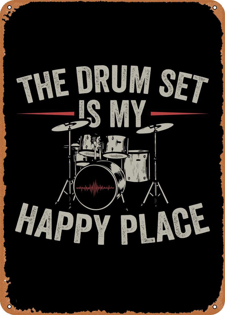 LAQII Metal Signs Drums Player Music Gift Room Decor Wall Decor Novelty Gift Musical Photo 8 x 12 inch