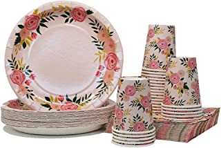 Pink Floral Party Pack   Plates Napkins Cups Serves 25   Perfect for Birthdays, Bridal Showers, Weddings, Tea Parties