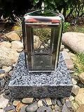 Stone & More - Lanterna per cimitero, in acciaio INOX, con base in granito, labrador, 20 x 20 x 5 cm, lampada tomba in acciaio inox con base labrador