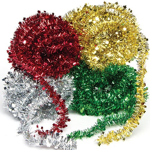Baker Ross AF837 Tinsel Garland, Assorted