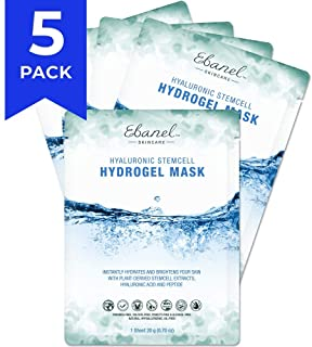 Ebanel Korean Hydrogel Facial Face Mask Sheet,5 Pack,Dark Spot Brightening Hyaluronic Acid Facial Masks, Instant Hydrating Moisturizing Anti-Aging Anti-Wrinkle with Stem Cell Extracts, Peptide Essence