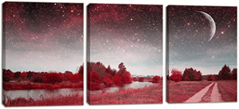 KALAWA Mystical Spring Night Moon Lake Picture 3 Panel Mystical Red Leaf Landscape Canvas Painting for Living Room Office Home Walls Framed Ready to Hang(12