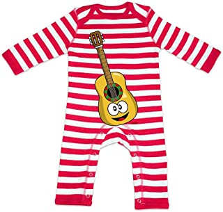 HARIZ HARIZ Baby Strampler Streifen Gitarre Lachend Instrument Kind Lustig Plus Geschenkkarte Feuerwehr Rot/Washed Weiß 3-6 Monate