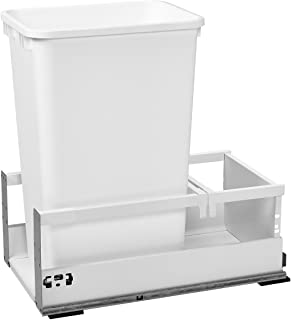 Rev-A-Shelf - TWCSD-1550DM-1 - Single 50 Qt. White Pull-Out Wood Bottom Mount Waste Container with Servo-Drive for 12 in. Opening