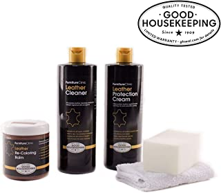 Furniture Clinic Leather Complete Restoration Kit - Set Includes Leather Recoloring Balm, Protection Cream, Cleaner, Sponge and Cloth - Restore and Repair Sofas, Car Seats and More (Bordeaux)