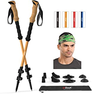 Trekking Poles - Adjustable Hiking or Walking Sticks for Men and Women - Strong, Lightweight, Cork Grip, Flip Lock, Collapsible Hiking Poles with All Terrain Accessories and Carry Bag, Headband