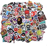 Fashion Cool Brand Stickers, Vinyl Skateboard Stickers for Car Motorcycle Bicycle Luggage Graffiti Patches Water Bottle Laptop Stickers Decals for Teens (100Pcs)