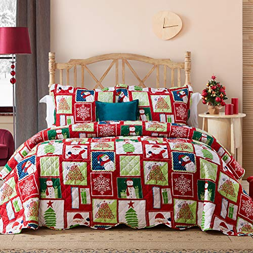 Hansleep Christmas Quilt Set with Snowflake Printed Pattern, Comforter Bedding Cover Lightweight Bedspread Bed Decor Coverlet Set for All Season (Christmas Snowflake, Full/Queen)