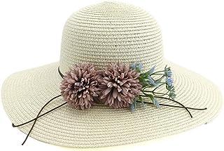 SHENTIANWEI New Ladies Beach Hat Ladies Derby Wide-brimmed Flowers Summer Bohemian Sun Straw Hat Direct