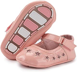 Babelvit Baby Girls Mary Jane Flats with Bow Anti Slip Hard Bottom Infant Walking Shoes Flower Princess Dress Wedding Shoes