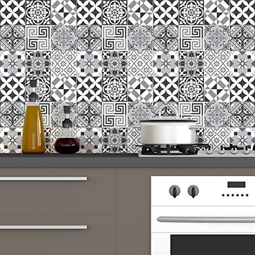 Ambiance-Live, Adesivo da Parete, Adesivo murale: 60 Adesivi per Piastrelle |Fotomurale - Mosaico Bagno e Cucina |Piastrella Adesiva - Elegante tonalità di Grigio - 10 x 10 cm - 60 Pezzi