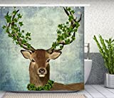 Elk Head Shower Curtain, Animal Decor Fabric Shower Curtain Set Art Print Bathroom