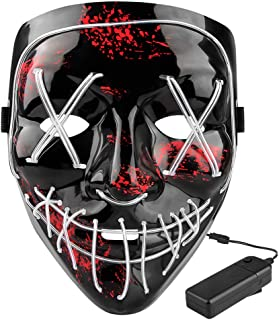 Halloween LED Scary Mask - Halloween Costume Mask EL Wire Light Up LED Glowing Mask with 3 Lighting Modes for Halloween