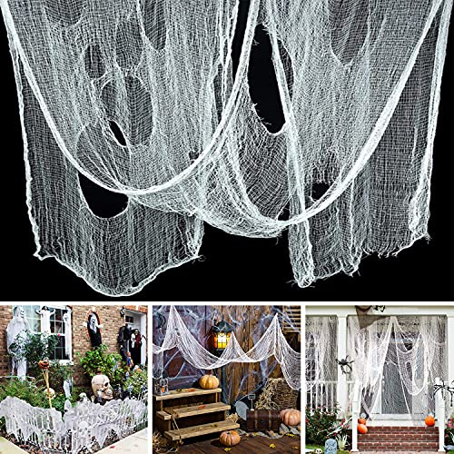 Ollny Halloween Creepy Cloth 80 x 200 in, Scary Gauze Doorways Spooky Giant Tapestry for Halloween Party Supplies Decorations Outdoor Yard Home Wall Decor, White