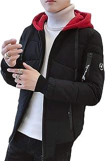 Ellte ダウンジャケット メンズ 秋 冬 フード付き ファッション ダウンコート ストレート バイカラー 長袖 ショートコート 通勤