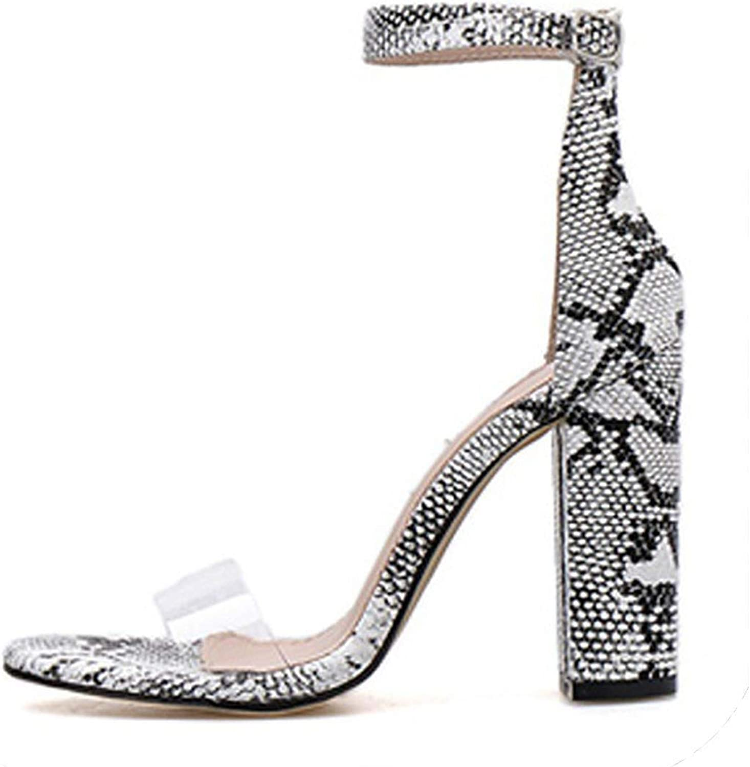 PVC Transparent Sandals Buckle Open-Toe Serpentine Square High Heels Sexy Party Fluorescent shoes