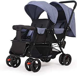 Strollers, Twin Baby Strollers, Front and Rear Seats, Stroller Lightweight Folding Double Stroller Reclining (Color : E)