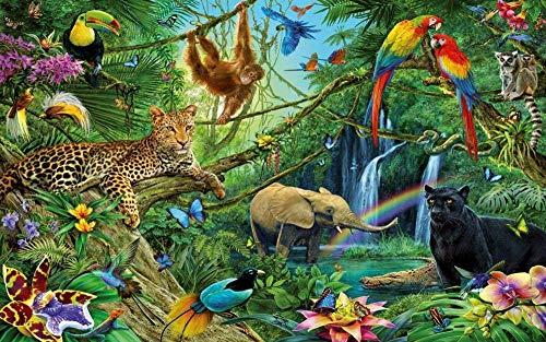 TTbaoz 1000 Pezzi Puzzle Animali della Giungla 1000 Pezzi Puzzle Educativo Intelligenza Decompressione Divertente Gioco per Famiglie 70 * 50 cm