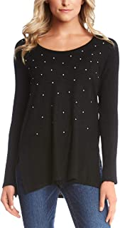 Womens Pearl Embellished Sweater