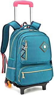 GLJJQMY Travel Bag Backpack Student Child Trolley Bag Cart Large Capacity Waterproof Men and Women Detachable Backpack Trolley Backpack (Color : Green, Size : 42x14x30cm)