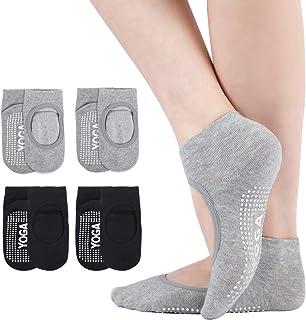 Women Non Slip Skid Yoga Socks with Grips,Ballet Slipper Socks for Barefoot Workout,Pilates,Pure Barre