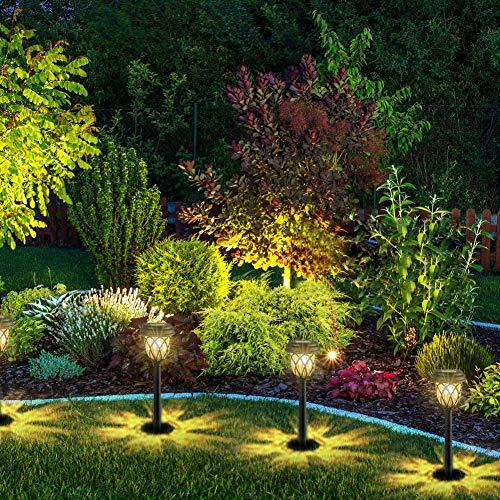 6er Solarleuchten Solar Garten Solarlampen für Außen Wasserdicht LED Warmweiß Wegeleuchte Gartenleuchte Dekorative Licht für Wege Ausfahrt Terrasse Teich mit Erdspieß