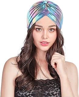 C.C-US Holographic Satin Turban Muslim Hat Pleated Stretchy Sleep Chemo Cap Headwear for Hair Loss