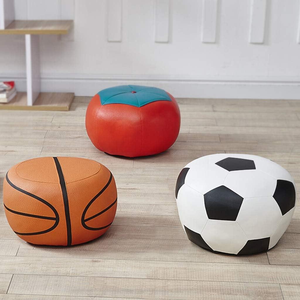 XiuHUa Cartoon Petit Repose-Pieds en Cuir Pouf Creative Living Room Chaussures Tabouret bébé Tabouret Tabouret Tabouret Ronde Tabouret (Color : Basketball) Basketball