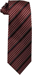 Children's Tie (ages 8-14 years old) Cranberry Gingham and Midnight Blue Stripes Youth Tie