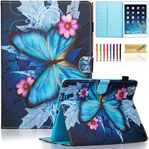 iPad Air 1st Generation Case, Dteck(TM) Smart Leather Cute Cartoon Flip Stand Case with [Card Slots] [Magnetic Clousure] Protective Case Cover for Apple iPad Air, Blue Butterfly & Pink Flower