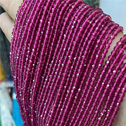 WSJKL Facetado Natural 2 3 mm Tallas de Piedra Zircon Rose Cuarzo Cuarzo Amatistas Rubys Agates Cuentas de Semillas para joyería Fabricación de Beadwork DIY Suministros (Color : 39.Ruby, Size : 2mm)